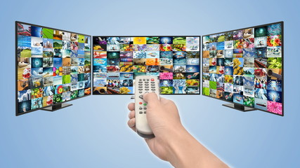 Internet Smart TV concept and streaming multimedia entertainment