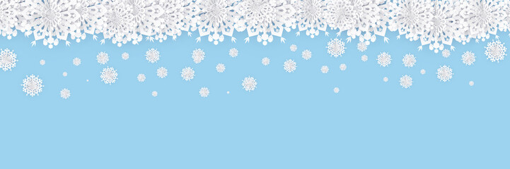 Abstract Christmas Background with White Paper Snowflakes