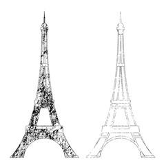 eiffel tower textured outline - Paris symbol black and white vector design set