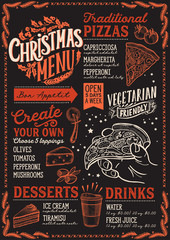 Christmas menu template for pizza restaurant on blackboard.