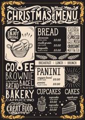 Christmas menu template for bakery on blackboard.