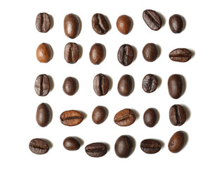 Roasted coffee beans on white background, flat lay