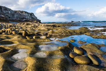 Weathered rocky coastline