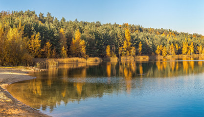 Golden autumn landscape with lake and trees in the Moscow region. Lytkarino