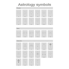 Set of monochrome icons with astrology symbols for your design