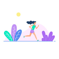 Vector illustration with running girl in flat style. Woman doing training outdoor