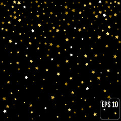 Group of gold star decoration christmas happy new year isolated on black background object design on top view