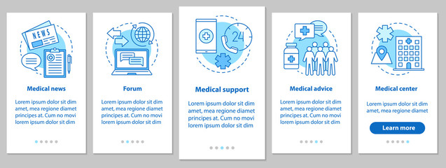 Medicine and healthcare onboarding mobile app page screen with l