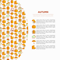 Autumn concept in circle with thin line icons: maple, mushrooms, oak leaves, apple, pumpkin, umbrella, rain, candles, acorn, rubber boots, raincoat, pinecone. Vector illustration, print media template