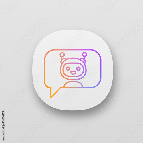 Chatbot in speech bubble app icon