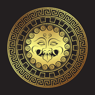 Medusa Gorgon golden head on a shield hand drawn line art and dot work print design isolated vector illustration. Gorgoneion is a protective amulet.