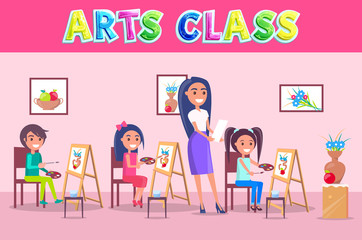 Arts Class School Time Poster with Smiling People