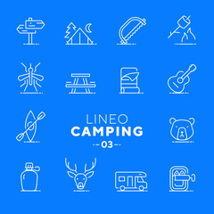 Lineo White - Camping and Outdoor line icons