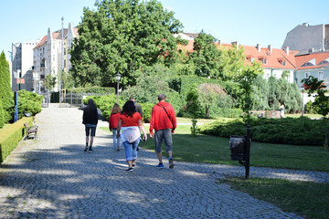 Group of people walking along city park in summer morning back view. Family vacation travel and tourism concept.