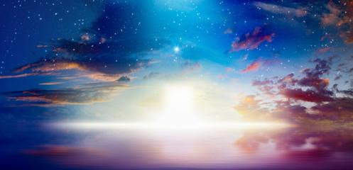 Way to heaven, bright light from heaven door Wall mural