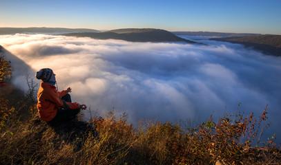 Morning meditation in nature