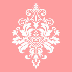 Damask graphic ornament. Floral design element. Pink vector pattern