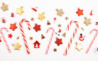 Flat lay with bright christmas decoration. New year celebration and christmas concept