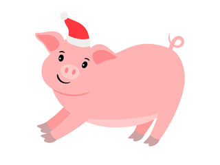 Happy cartoon pink pig in santa hat, vector illustration
