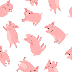 Happy cartoon pink pigs pattern with white background, vector illustration