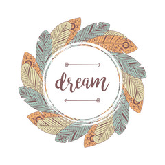 Frame from hand drawn feathers. Dream lettering banner or badge vector illustration