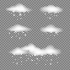 Set of white clouds with snow falls on transparent background. Winter snowfall designer. Different snowflake falling from the cloud. Christmas and New Year eve