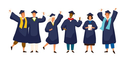 Group of happy graduated students wearing academic dress, gown or robe and graduation cap and holding diploma. Boys and girls celebrating university graduation. Flat cartoon vector illustration.