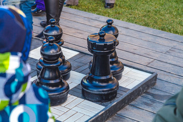 large street chess close up