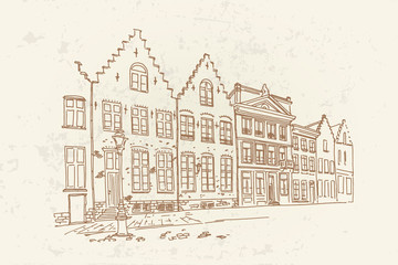 Wall Mural - Vector sketch of Traditional architecture in the town of Bruges (Brugge), Belgium. Artistic retro style.