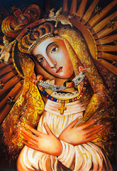 The Icon of the Mother of God of Ostrobram. Copy, oil, canvas