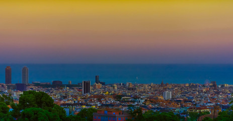 Barcelona sky's at sunset