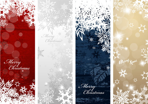 Set of four colorful Christmas background banners with snowflakes and simple Merry Christmas text - vertical version