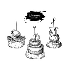 Canape vector drawings. Food appetizer and snack sketch. Finer f