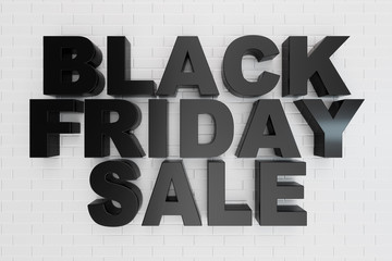 Black Friday, sale message for shop. Business shopping store banner for Black Friday. Black Friday crushing ground. 3d text in black and white color. Modern design. 3D illustration