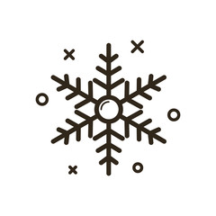 black and white simple vector line art Christmas snowflake icon