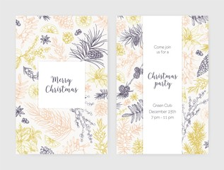 Collection of Christmas flyer, card or party invitation templates decorated with seasonal plants drawn with contour lines on white background. Holiday vector illustration for event announcement.