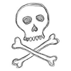 Vector Dirty Sketch Illustration - Skull with Crossbones