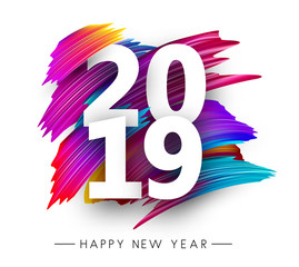 Happy New Year 2019 greeting card with color brush strokes.