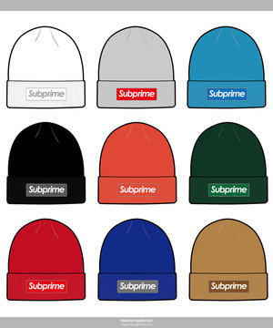 Beanie design Fashion technical drawings vector template