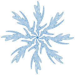 Snowflake illusration. Adult coloring page or temporary tattoo. Creative New Year print. Christmas icon.