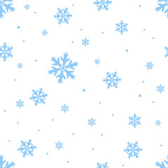 Falling blue snowflakes, repeating. Seamless style, pattern. Winter Christmas snowfall.