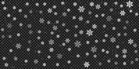 Snow and snowflakes background, pattern. Winter frosty storm, snowfall effect. Vector design elements for Christmas and New year.