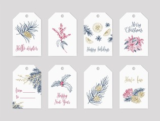 Bundle of winter holiday label or tag templates decorated with seasonal plants hand drawn with contour lines on white background and festive lettering. Elegant Christmas vector illustration.