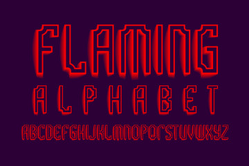 Flaming alphabet. Red shades artistic font. Isolated english alphabet.