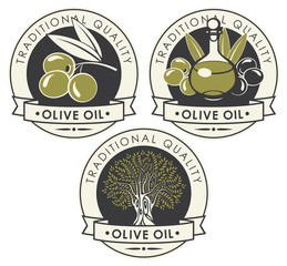 Vector set of three stickers or labels for olive oil of round shape with ribbons in retro style