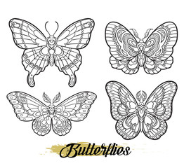 Stylised butterflies isolated on white background. Vector moth illustration line art style. Design for tattoo or t shirt graphic.