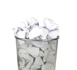 Metal trash bin for paper