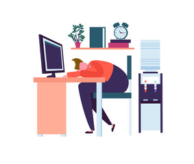 Tired Business Character Sleeping in the Office. Exhausted Worker Falling Asleep at Work. Lazy Man Sleeping Behind his Desk. Vector illustration