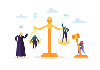 Law and Justice Concept with Characters and Judical Elements, Gavel, Lawyer. Judgment and Court Jury People. Vector illustration
