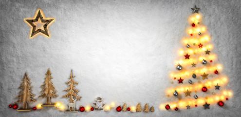 Kreativer Hintergrund für Weihnachten, Symbole auf Schnee